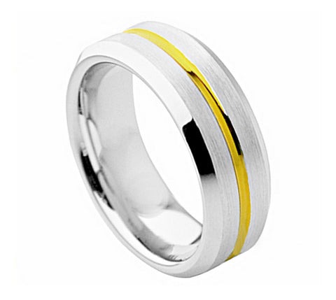 Cobalt Ring 18K Gold Plated Single Groove Center-8mm