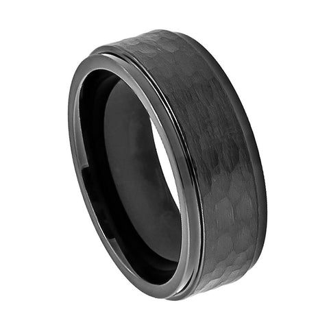 Black Cobalt Ring with Hammered Center-8mm
