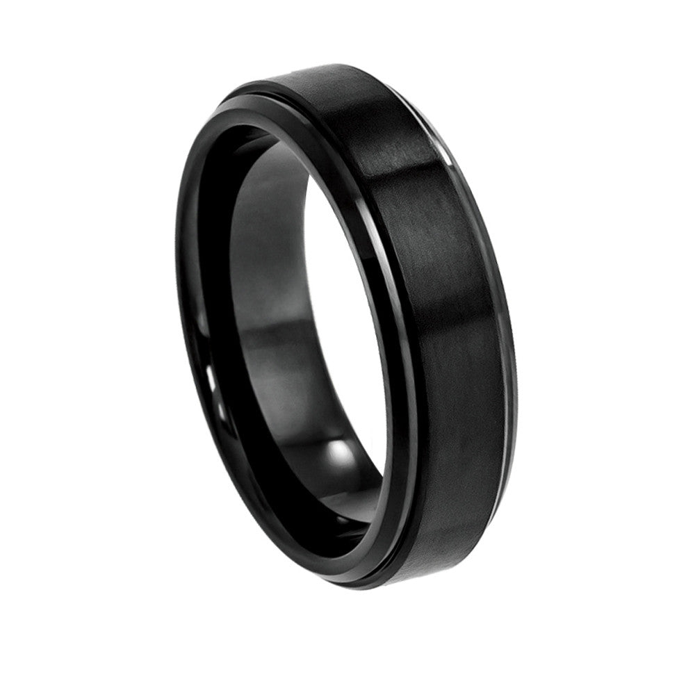 Cobalt Ring Black Brushed Center and Polished Stepped Edge6mm