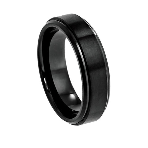 Black Cobalt Ring with Satin Center & Shiny Stepped Edge 6mm