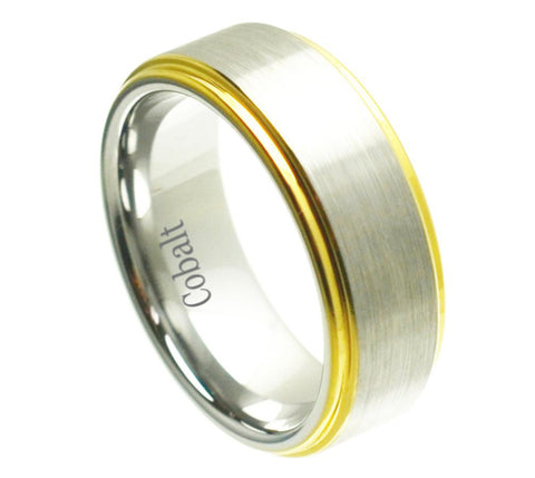 Cobalt Ring Raised Satin Finish 18K Gold Plated Edges-8mm