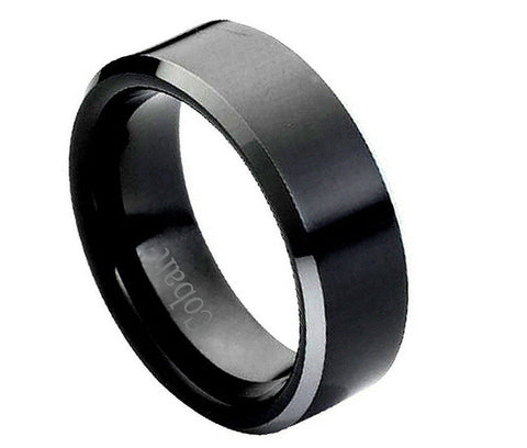 Black Cobalt Ring with Shiny Beveled Edges-8mm