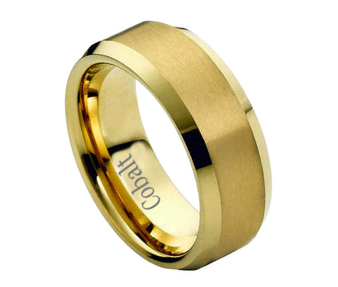 Cobalt Ring 18K Gold Plated Polished Beveled Edges- 8mm