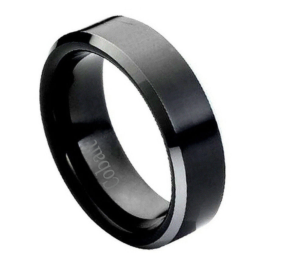 black cobalt ring with shiny beveled edges 6mm - Cobalt Wedding Rings
