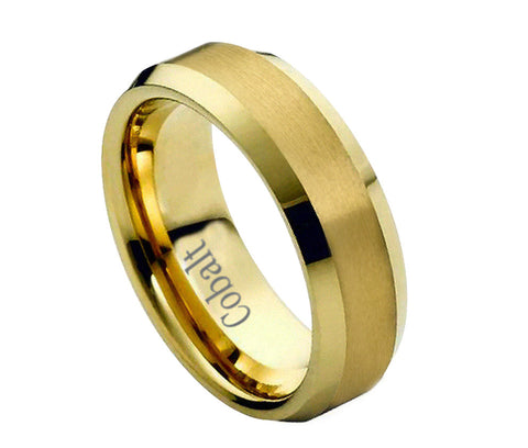 Cobalt Ring 18K Gold Plated Beveled Edges- 6mm