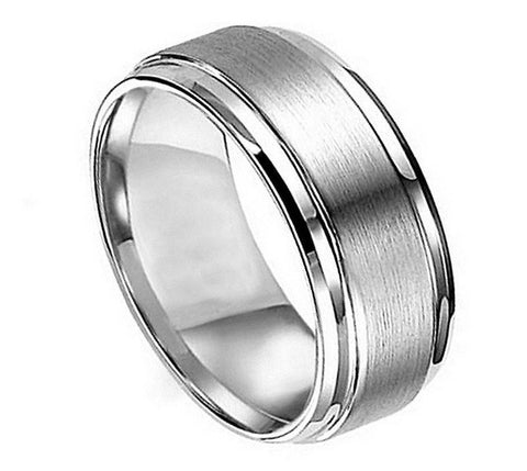 Titanium Ring Brushed Raised Center & High Polish Step Down Edges-8mm