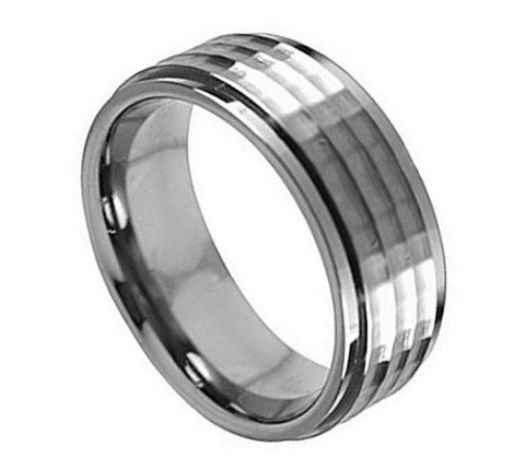 Titanium Ring Raised Brushed Center & Hammered Pattern-8mm