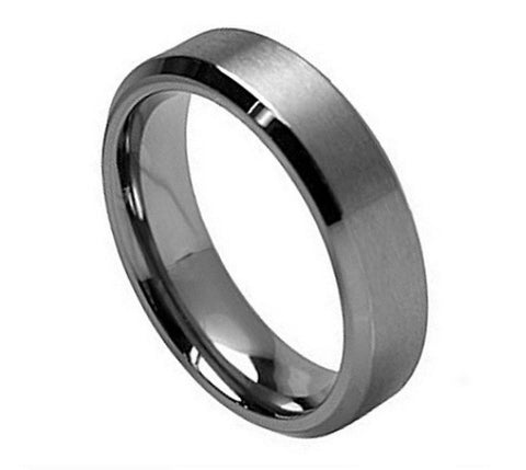 Titanium Ring Brushed Finish with Polished Beveled Edges-7mm