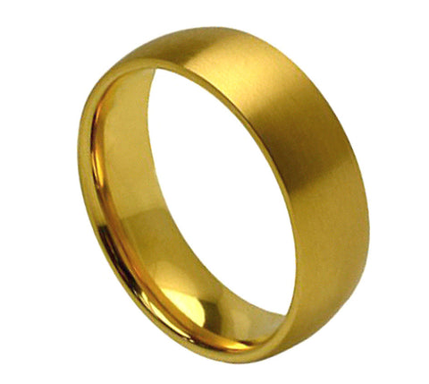 Titanium Ring Domed 18K Gold Plated Satin Finish-7mm