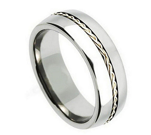 Titanium Ring Domed with High Polish Braided Inlay-8mm