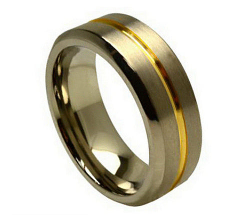 Titanium Ring Brushed Finish 18K Gold Plated Groove-8mm