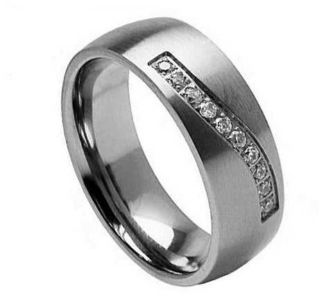 Titanium Ring Brushed Finish Cubic Zirconia Wave Design-7mm