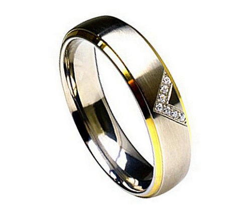 Titanium Ring Two-Tone with Cubic Zirconia Design-6mm