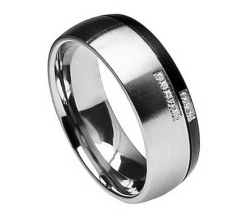 Titanium Ring Black & Gun Metal Design Cubic Zirconia Stones-8mm