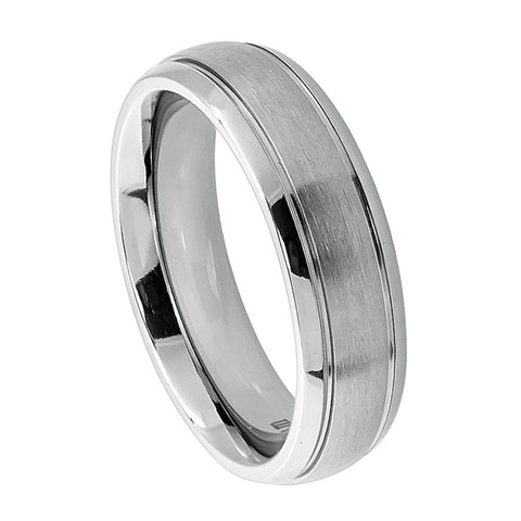 Titanium Ring Satin Finish and Polished Groove Edges-6mm