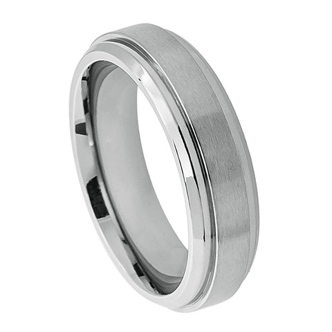 Titanium Ring Brushed Raised Center & Shiny Stepped Edges-6mm