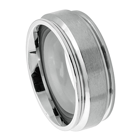 Titanium Ring Brushed Raised Center & Leveled Step Down Edges-8mm