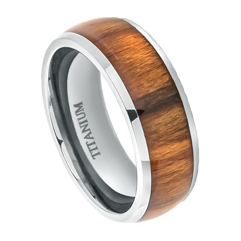 Titanium Ring Domed with Santos Rosewood Inlay-8mm