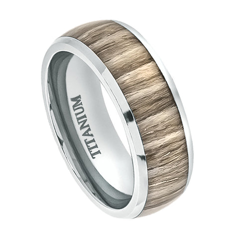 Titanium Ring Domed Ashen Zebra Rosewood Inlay-8mm