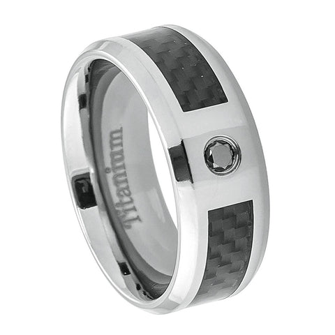 Titanium Ring Black Carbon Fiber Inlay & Black Diamond Center-8mm