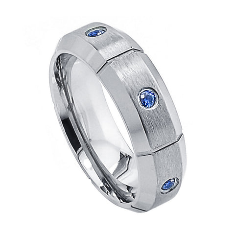 Titanium Ring Satin Finish Straight Grooves & Nile Blue Sapphires-7mm