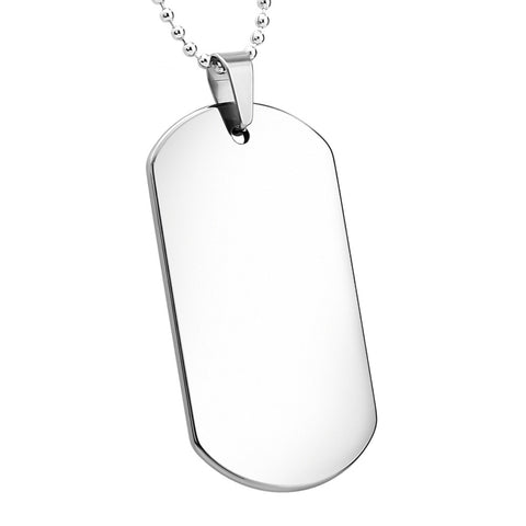 Tungsten Dog Tag Pendant - Engravable