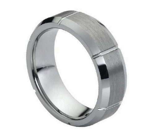 Tungsten Ring Brushed with Straight Grooves-7mm