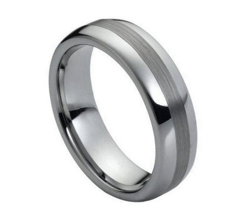 Tungsten Ring with Dark Brushed Strip-6mm