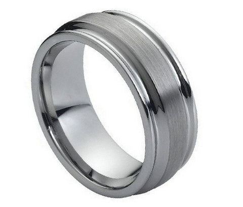 Tungsten Raised Brushed Center Ring with Inverted Grooves-8mm