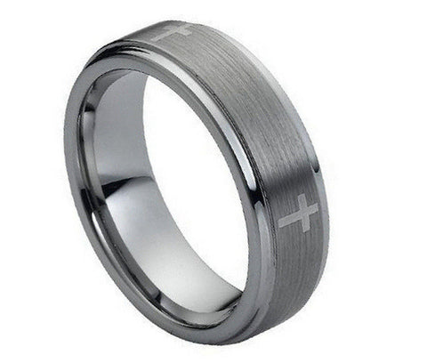 Tungsten Cross Ring with Brushed Finish Center-7mm