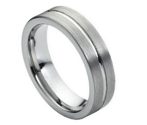 Tungsten Ring Brushed with Polished Center Groove-6mm