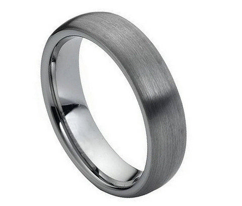 Tungsten Ring Wide Domed Brushed Finish-6mm