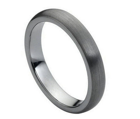 Tungsten Ring Domed with Brushed Finish-4mm