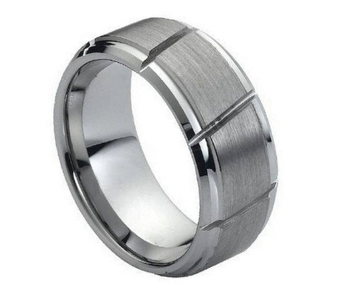 Tungsten Brushed Ring with Wide Diagonal Grooves-9mm