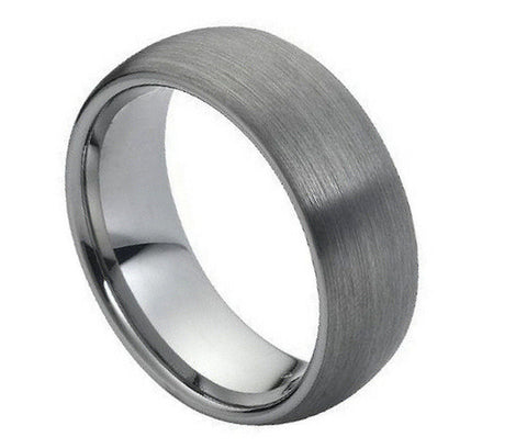 Tungsten Ring Domed with Brushed Finish Wide-8mm