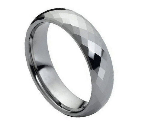 Tungsten Diamond-Facet Ring-6mm