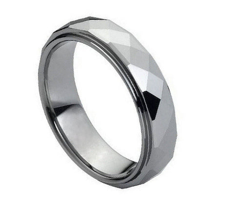 Tungsten Multi-Facet Ring with Stepped Edges-6mm