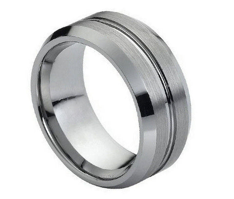 Tungsten Cross Ring with Raised Brushed Center-9mm