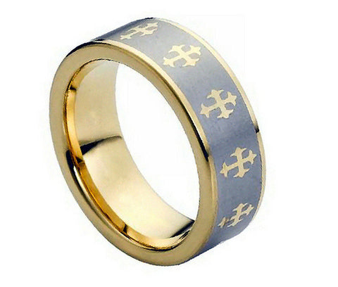 Tungsten Cross Ring with 18K Gold Plating Wide-8mm