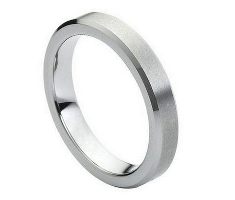 Tungsten Brushed Ring with Polished Beveled Edges-4mm