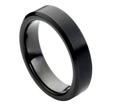 Black Tungsten Ring with Shiny Beveled Edges-6mm