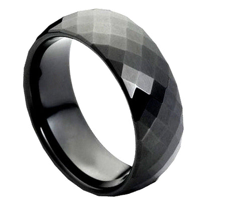 Black Tungsten Diamond-Facet Ring-8mm
