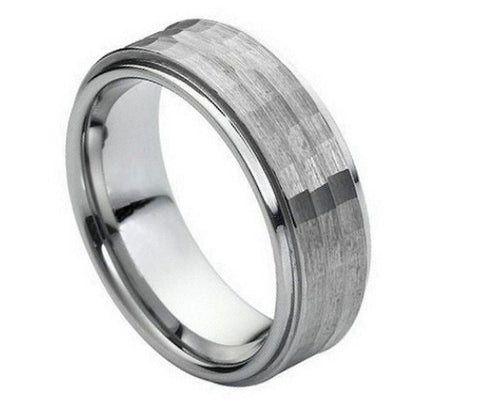 Tungsten Ring with Raised Hammered Center-9mm