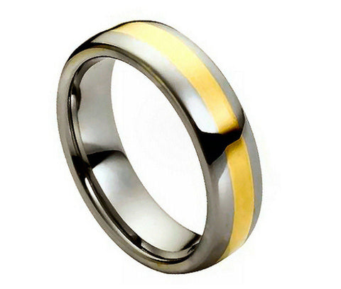 Tungsten Domed Ring 18K Gold Plated Brushed Center-6mm