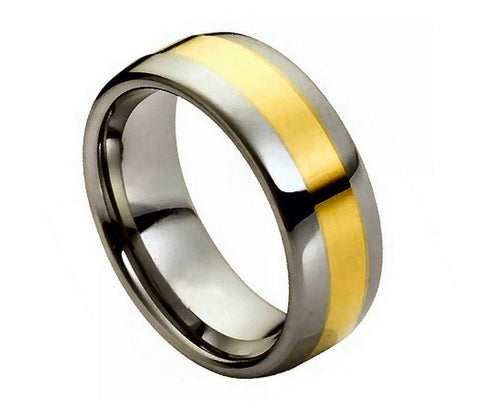 Tungsten Domed Ring with 18K Gold Plated Thin Brushed Center-6mm