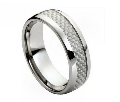 Tungsten Grey Carbon Fiber Ring with Checker Inlay-8mm