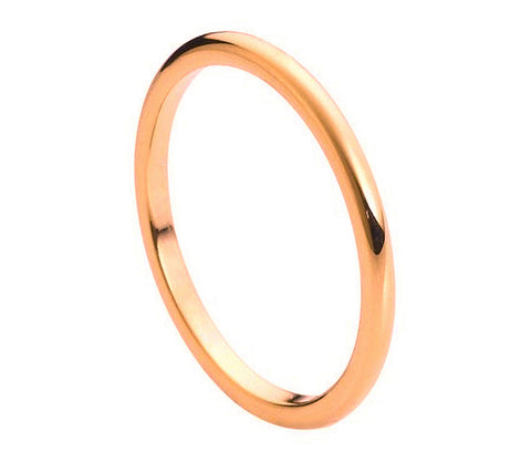 Tungsten Ring 18K Rose Gold Plated-2mm