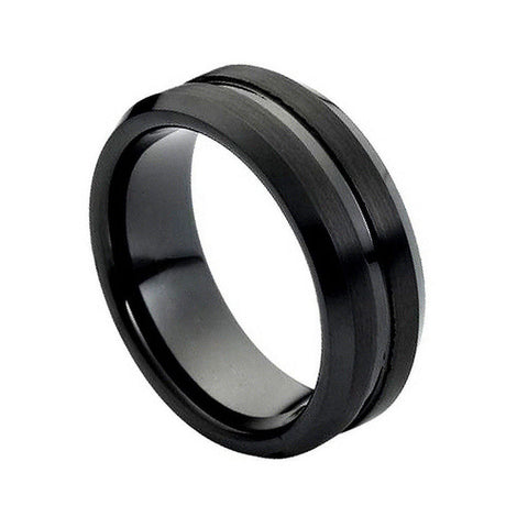 Black Tungsten Brushed Ring with Grooved Shiny Center-8mm