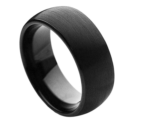 Black Tungsten Domed Ring with Brushed Finish-8mm
