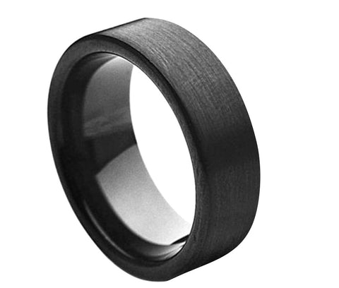 Black Tungsten Ring with Satin Finish-7mm